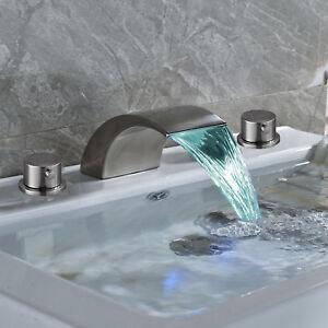 Widespread Brushed Nickel Bathroom Basin Faucet LED Waterfall Tub Sink Mixer Tap