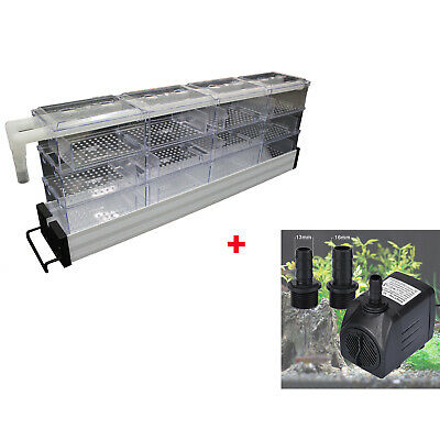 12 Boxes Aquarium Fish Tank Upper Wet/Dry Trickle Filter+Submersible Water Pump