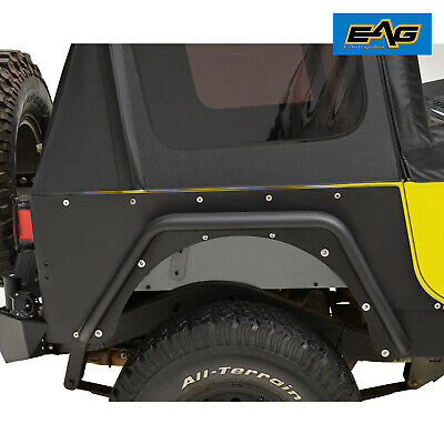 EAG Rear Corner Rocker Guard Armor Rock Metal Pair Fit 87-95 Jeep Wrangler YJ