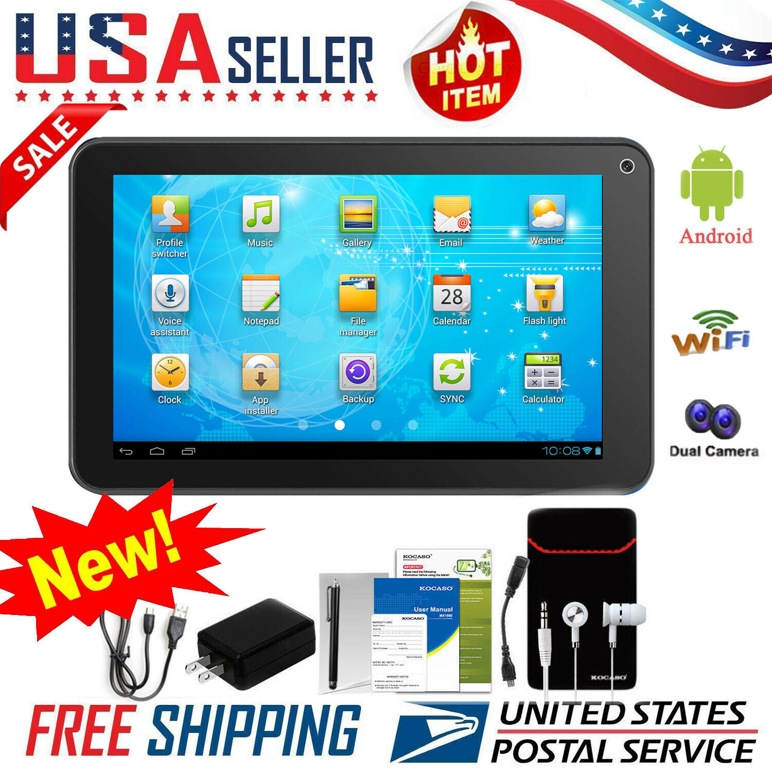 "9"" 7"" Inch Tablet PC Android Quad Core 16GB/8GB HD WIFI Dual"