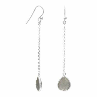 Sterling Silver Pear-cut Labradorite Chain Earrings