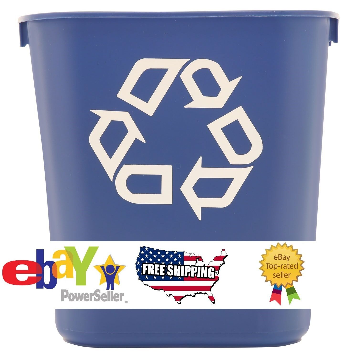 2-Pack Rubbermaid Commercial Recycling Bin Plastic Container