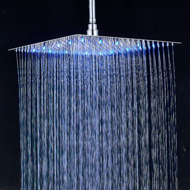 Details About Bathroom Rainfall 12 Inch Shower Head Led Light Overhead Spray Chrome