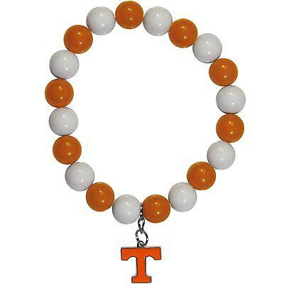 NCAA Tennessee Volunteers Bead Bracelet Lucky Jewelry Stretch Wrist Enamel Charm - Enamel Tennessee Volunteers Charm