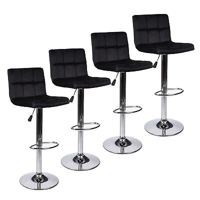 - Set Of 4 Bar Stools Hydraulic Adjustable Swivel Velvet Fabric Counter Chairs Pub