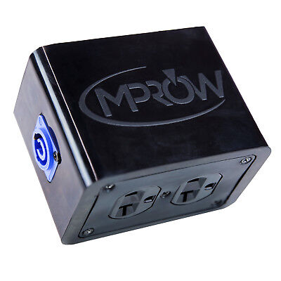 MPROW Rubber Quad Box Neutrik PowerCon Power Distribution Twist-Lock Distro link