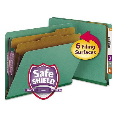 Smead Pressboard End Tab Classification Folders Letter Six-section Green 10box