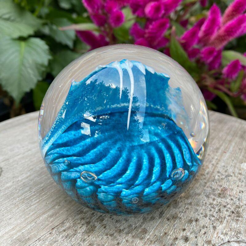 Glass Eye Studio Environmental Cresting Wave Paperweight