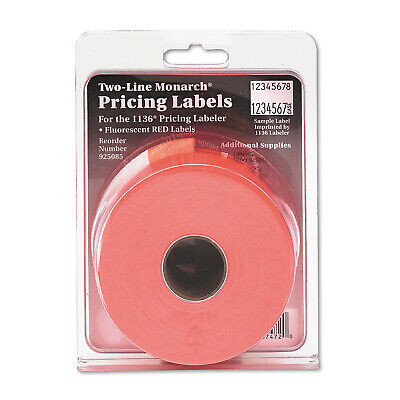 Monarch Easy-load 1136 Two-line Pricemarker Labels 58x78 Fluorescent Red 35