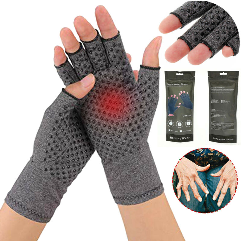 Pair Copper Anti Arthritis Gloves Hand Support Pain Relief F