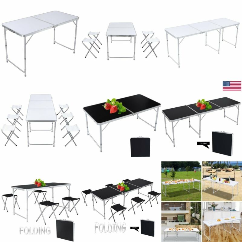 4 / 6 FT Versatile Folding Camping Table Set Height Adjustable Picnic Party Home