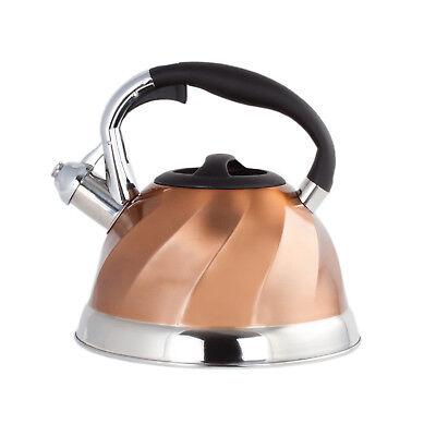 3 Quart Whistling Tea Kettle (Copper Stainless Steel Whistling Tea Kettle - Tea Maker Pot 3 Quarts 2.8 L.)