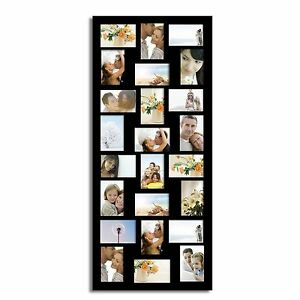 Adeco 24 Opening 4x6 Black Wood Wall Hanging Collage Photo