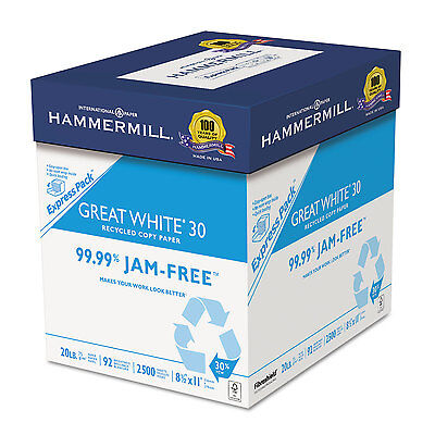 Hammermill Great White Recycled Copy Paper 92 Brightness 20lb 8-1/2 x 11 2500