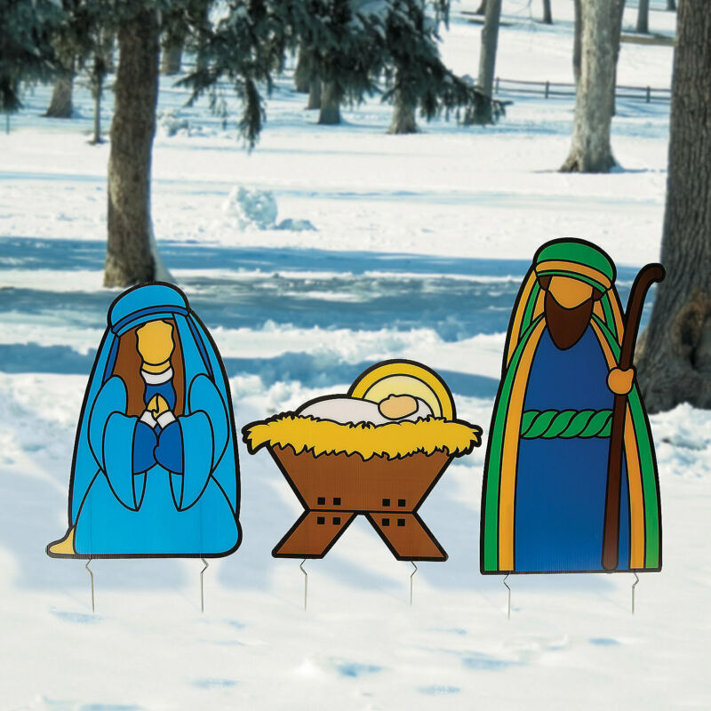 Holy Family Outdoor Yard Stakes - Seasonal Decor - 3 Pieces
