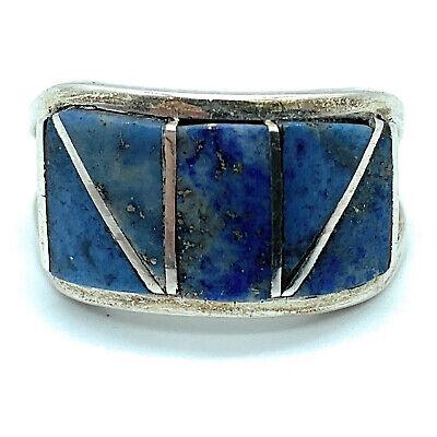 Zuni Sterling Silver Lapis Lazuli Inlay Ring - Sz. 8.5 Lapis Lazuli Inlay Ring