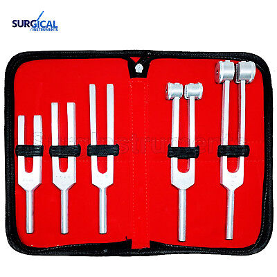 5 Tuning Fork Set Medical Surgical Chiropractic Physical Diagnostic Instruments
