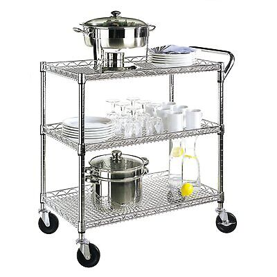 Kitchen Utility Cart Wheels Rolling All Purpose 3 Shelves Storage Handle Metal