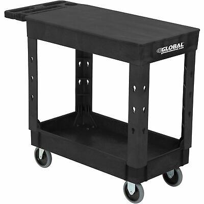 Industrial Service Utility Cart Plastic 2 Shelf Flat Black 38 X 17-12 5