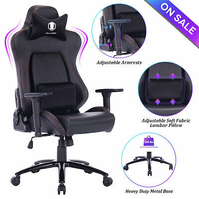 High Back 400lb Memory Foam Gaming Chair PU Leather Desk Office Chair Black