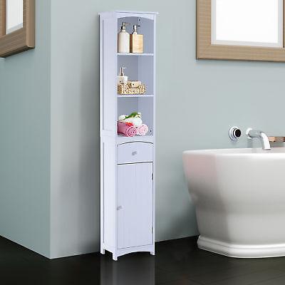 HOMCOM Bathroom Storage Cabinet Tall Towel Organizer Wood Tower Shelves Cupboard