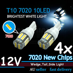 4x White T10 7020 SMD 10 LED W5W Wedge Tail Side Car Lights Turn Parker Bulb 12V