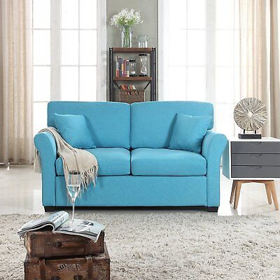 Comfortable Fabric Loveseat Sofa for Small Living Room, Linen Couch Blue (Linen Living Room Loveseat)