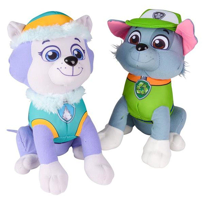 "Paw Patrol Plush Stuffed Figure Everest Rocky Set 10"" Doll K"