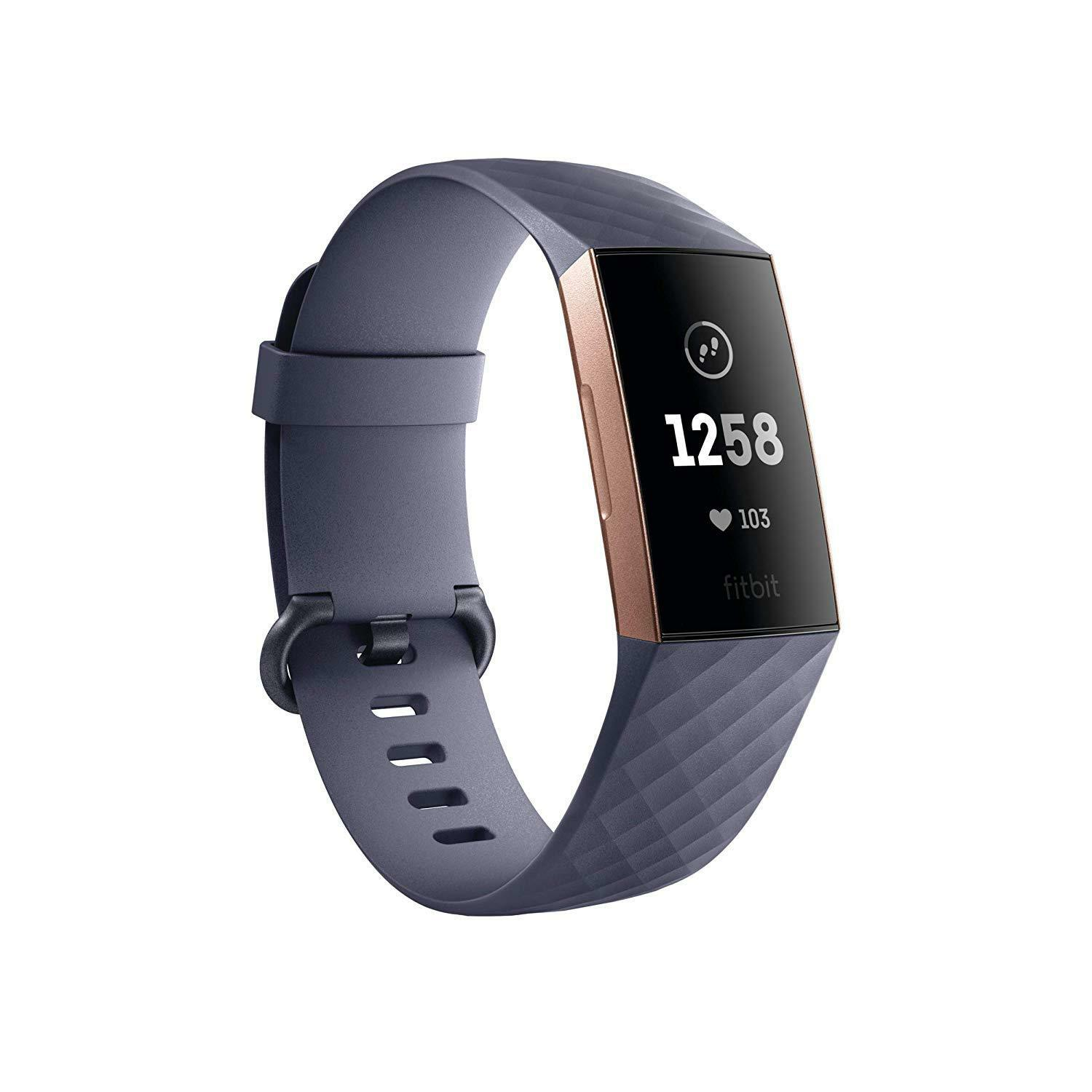 Fitbit Charge 3 Fitness Activity Tracker, Rose Gold/Blue Gre