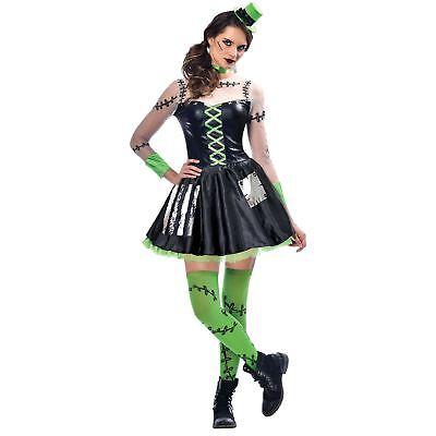 Ladies Freaky Frankenstein Costume Frankie Monster Halloween Adult Fancy Dress ()