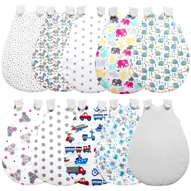 Baby-Joy Schlafsack für Babys ZICK-ZACK Linie 100% Baumwolle WARM gefüttert