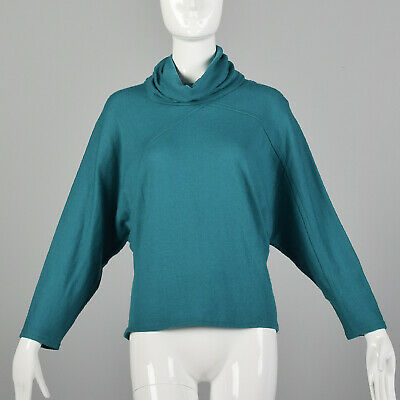 80s Sweatshirts, Sweaters, Vests | Women M Green Turtleneck Sweater 1980s Batwing Wool Knit Teal Oversized Top 80s VTG $51.00 AT vintagedancer.com