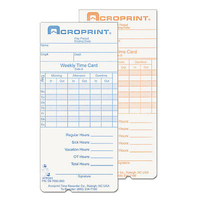 Acroprint Weekly Time Cards For Atr240 And Atr360 250pack 097000000