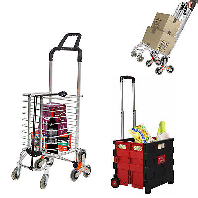 Utility Shopping Carts - Wheeled Rolling For Laundry Luggage Grocery Heavy Duty