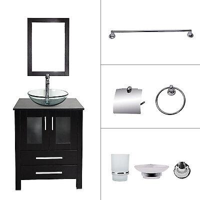 24'' Bathroom Vanity Cabinet Vessel Sink w/Faucet Darin Bath Accessory Set