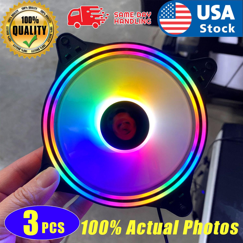 3-Pack Black Frame 120mm ARGB LED PC Computer Case Cooling Fan Quiet Colorful Computer Case Fans