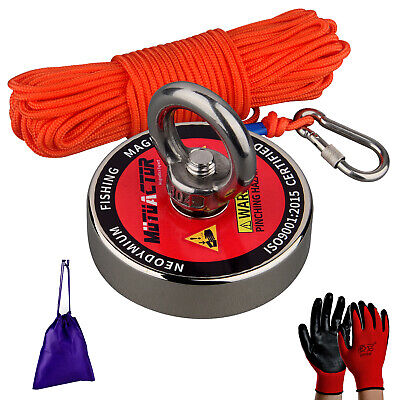 400lbs Strong Fishing Magnet Kit N52 Sea River Metal Recovery Detect 20m Rope