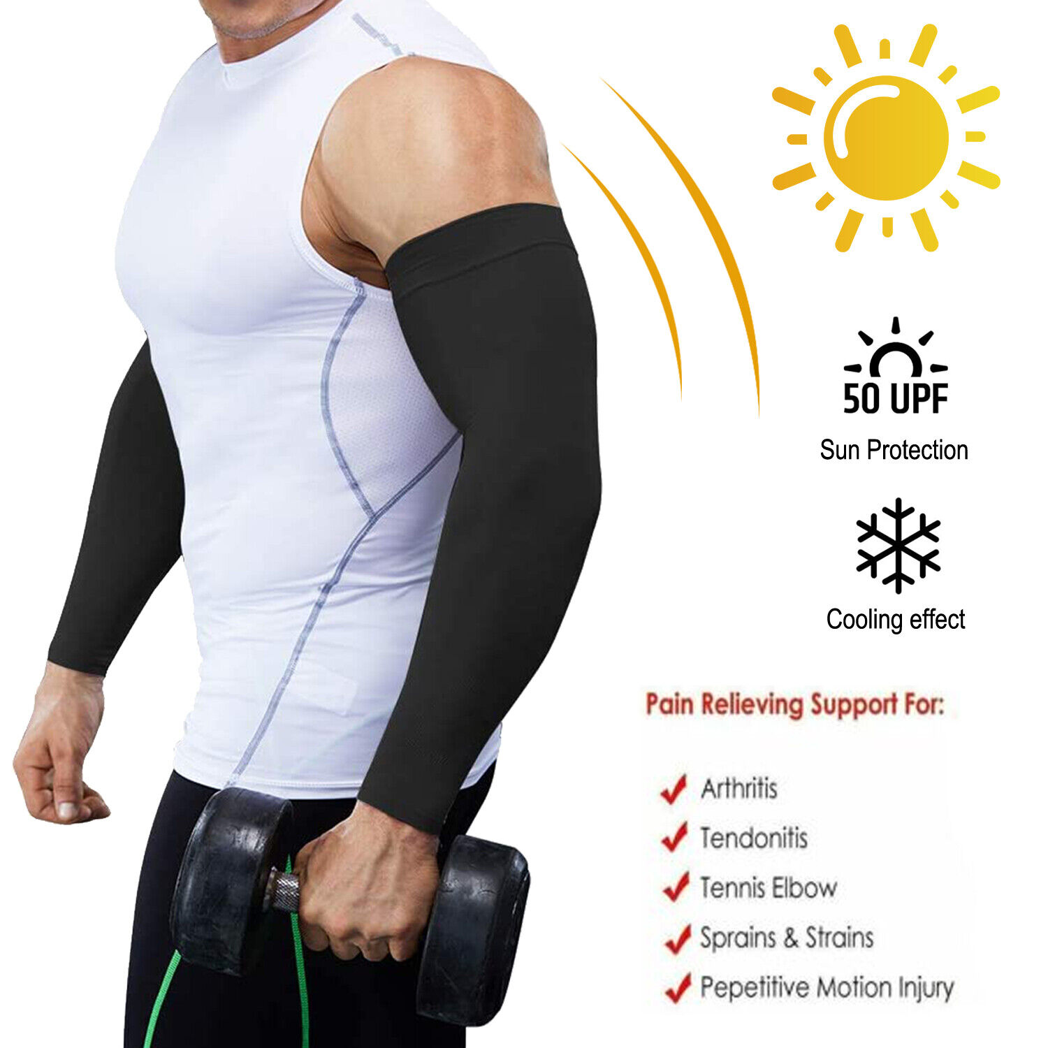 Compression Arm Sleeve Elbow Support Brace Joint Pain Relief