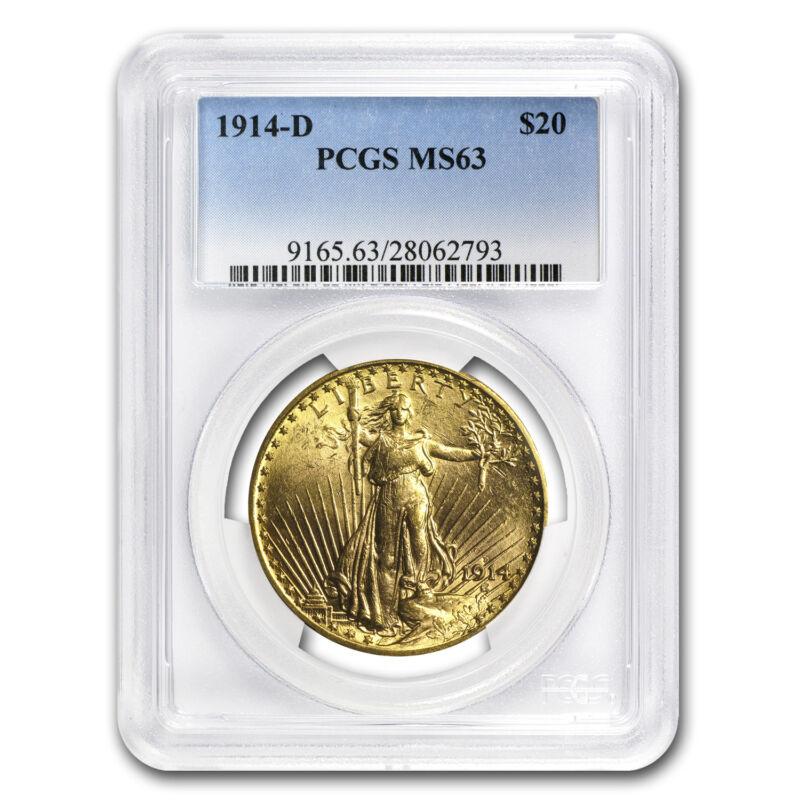 1914-d $20 Saint-gaudens Gold Double Eagle Ms-63 Pcgs - Sku #59100