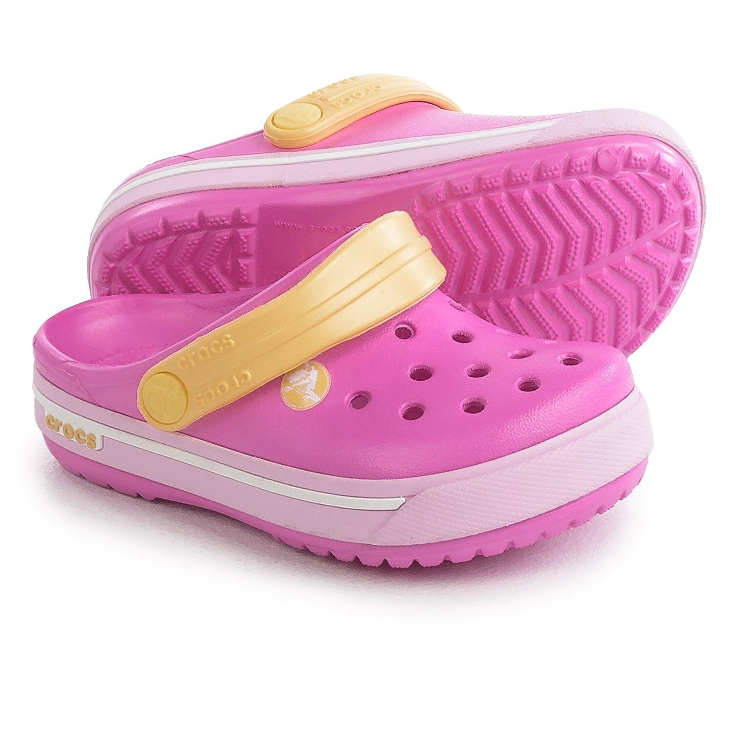 Crocs Crocband II.5 YOUTH Clogs Girls Pink/Yellow Water Shoe