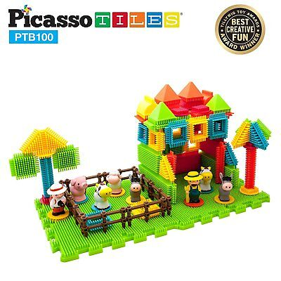 PicassoTiles 100pcs Bristle Shape 3D STEM Building Blocks Tiles Farm Set PTB100