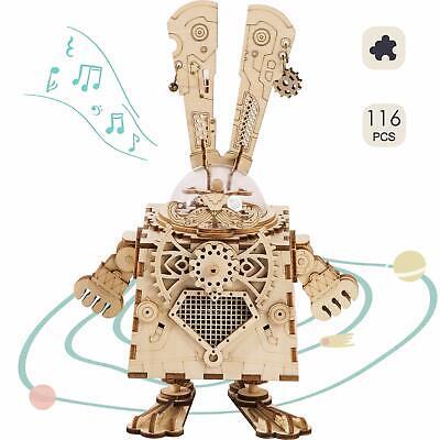 Bunny Toys Diy (ROBOTIME DIY Bunny Music Box Kits Rabbit Model Wooden Toy Children's Day)