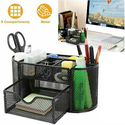 Desk Organizer Black Mesh Metal Desktop Office Pen Pencil Holder Storage Tray Us