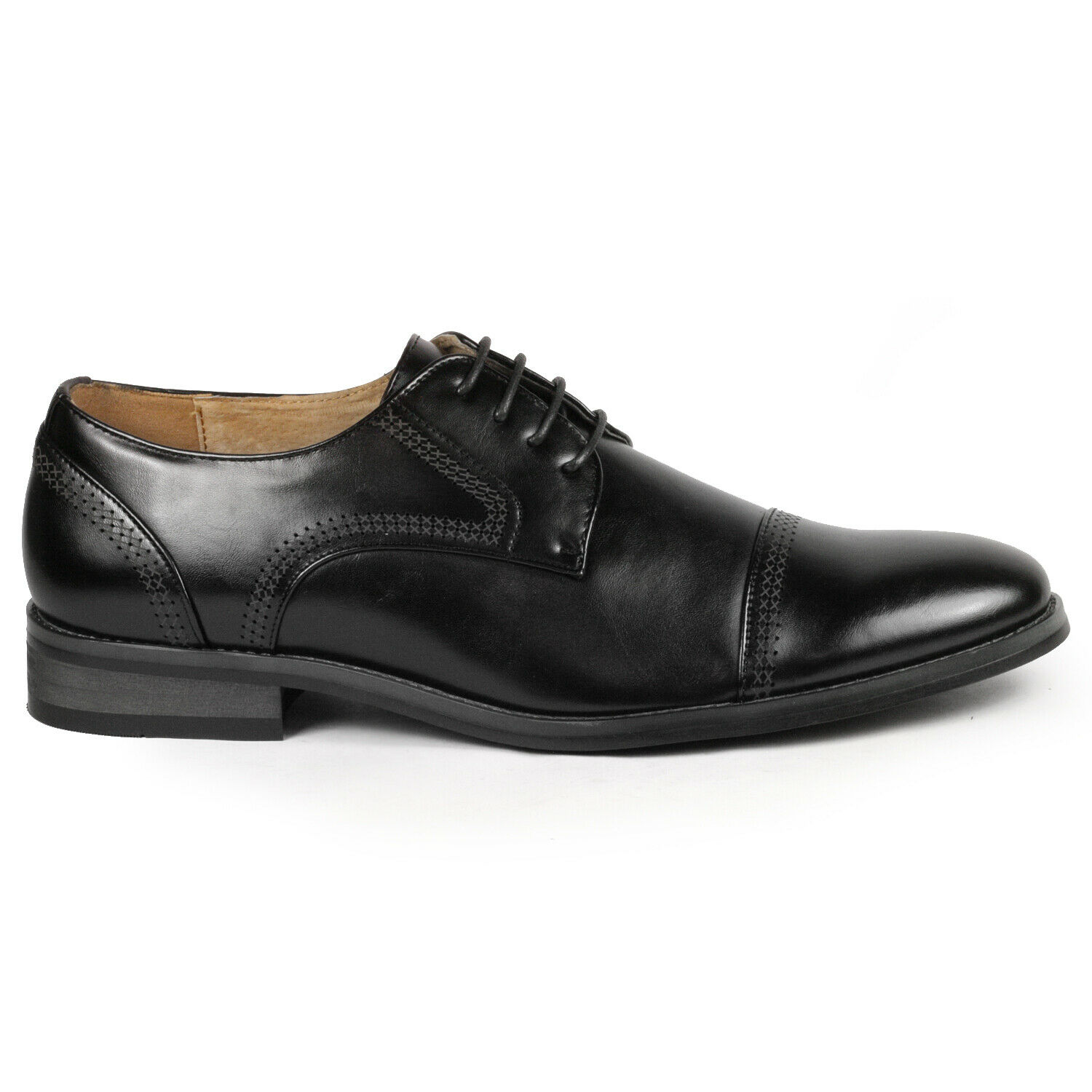 Black Men's Cap Toe Lace Up Oxford Classic Dress Shoe 1