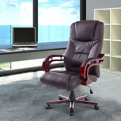 Faux Leather Ergonomic Swivel Office Chair Executive Computer Desk Brown