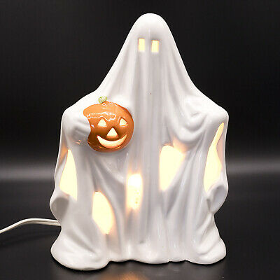 """Vintage 1980's Halloween Ceramic Ghost With Pumpkin Light Up Lamp 8"""" Spooky"""
