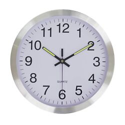 """Silver Aluminum 12"""" Large Non-ticking Battery Operated Analog Wall Clock"""