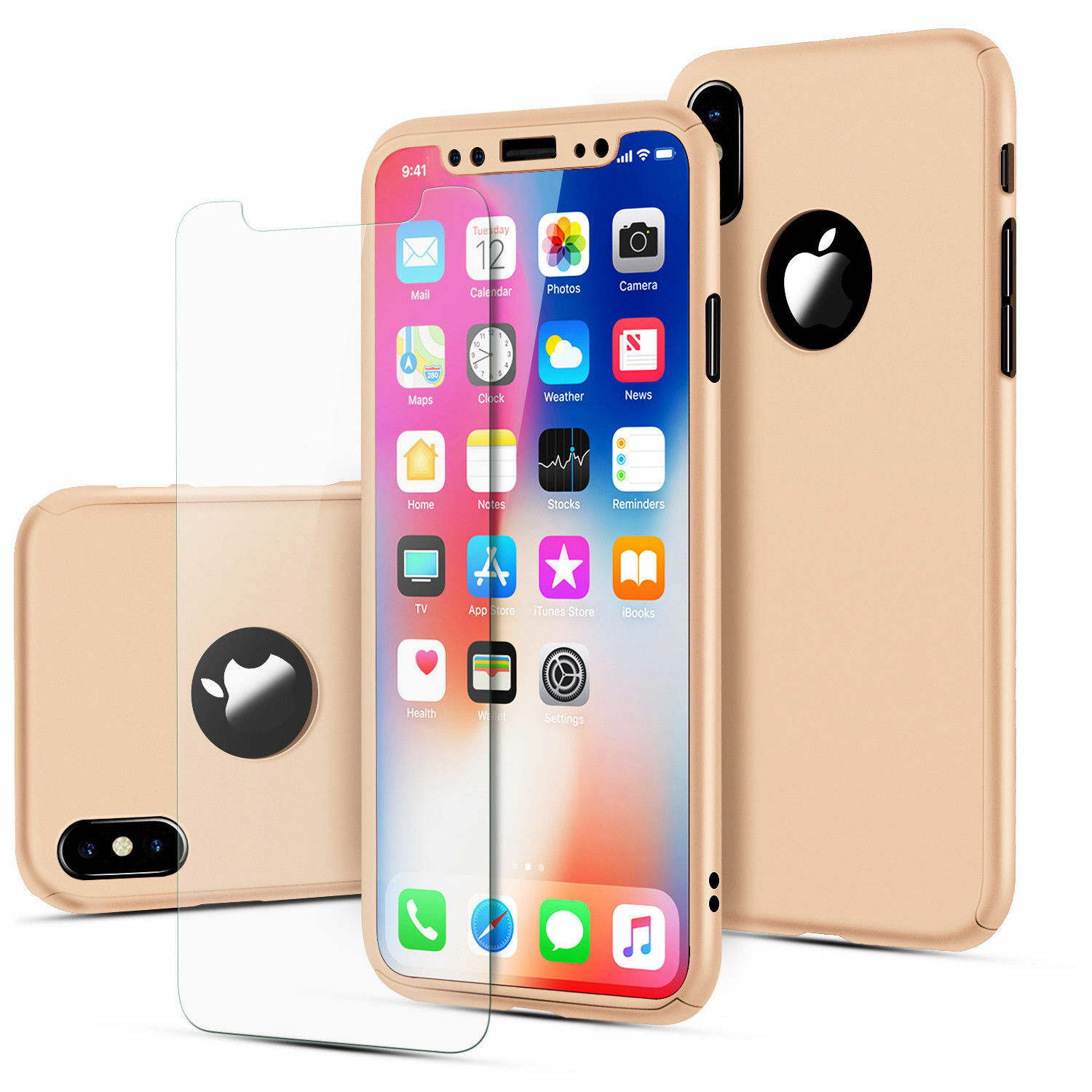 For iPhone X 10 6 6S 7 8 iPhone8 Plus Case Hybrid Hard Cover + Screen Protector