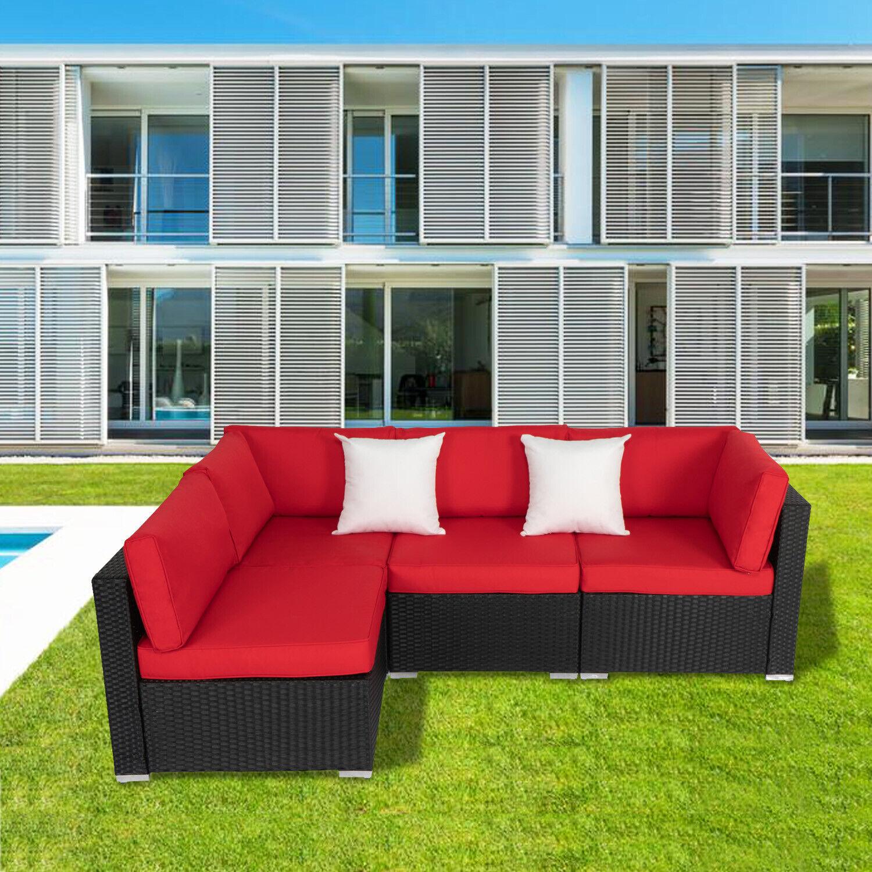 Garden Furniture - 4 Pcs Outdoor Patio Rattan Sofa Loveseat Couch Garden Furniture Set Backyard