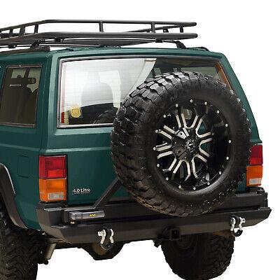 Fit for 1984-2001 Jeep Cherokee XJ Rear Bumper W/ Tire Carrier & Hitch